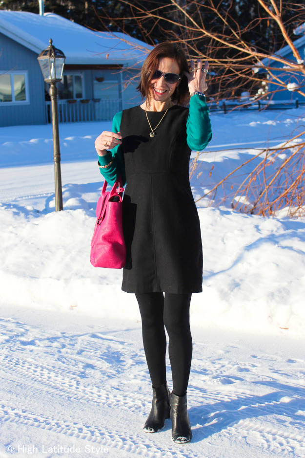 #maturestyle professional winter office outfit with sheath dress