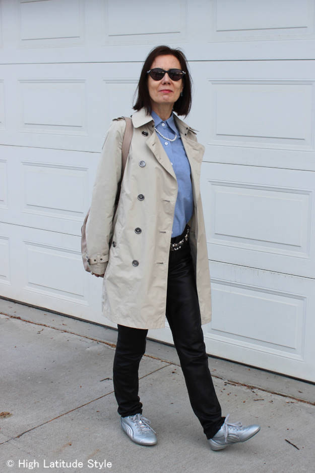 #styleover50 over 50 year old woman in polished urban look with slim sneakers