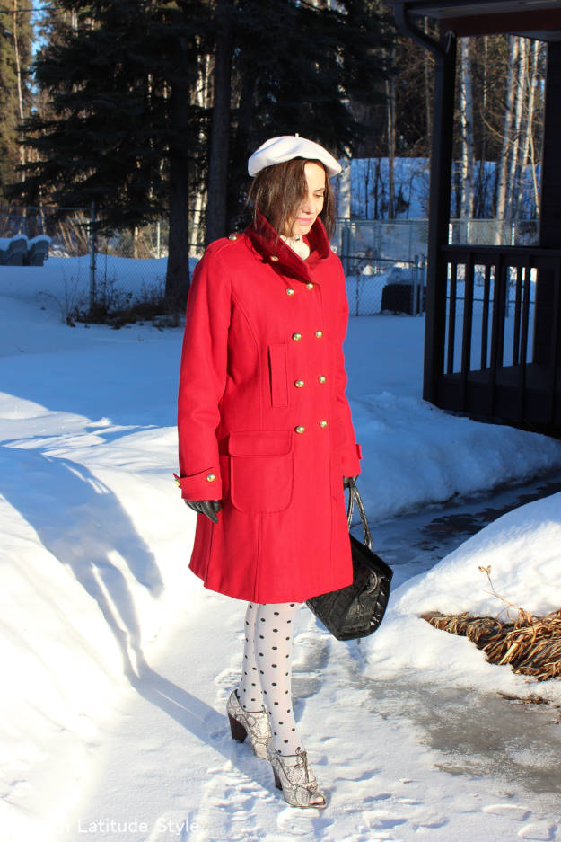 #styleover50 woman in a winter outfit in navy inspired trend