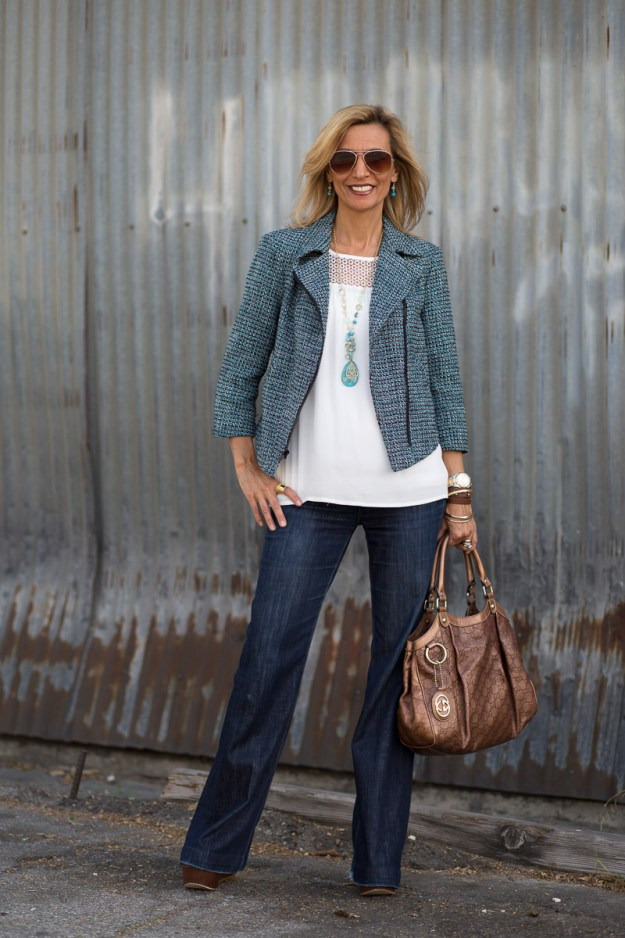 #fashionover50 Nora from Jacket Society having the same motorcycle jacket