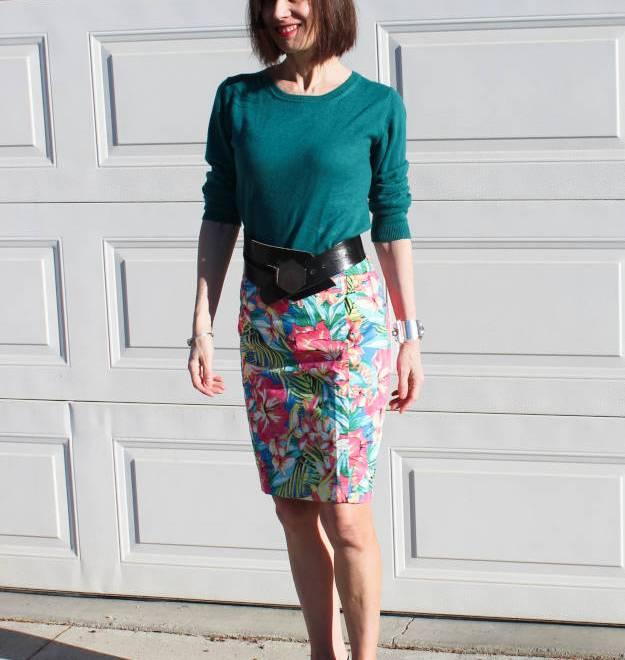 #over40 tropical print pencil skirt   High Latitude Style   http://www.highlatitudestyle.com