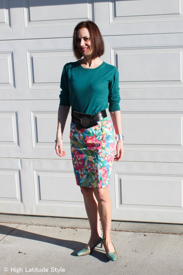 tropical print pencil skirt with sweater for winter to spring transition