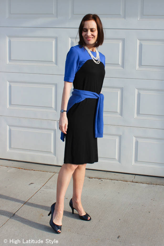 #advancedfashion midlife woman in work outfit with pearls