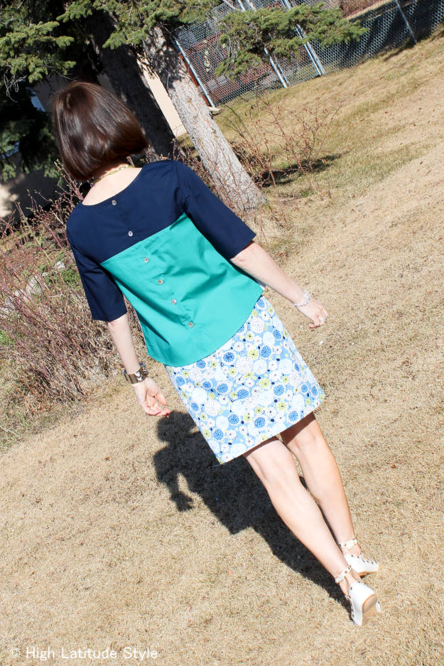 #over40fashion #over50fashion printed skirt with color blogged top | High Latitude Style | http://www.highlatitudestyle.com