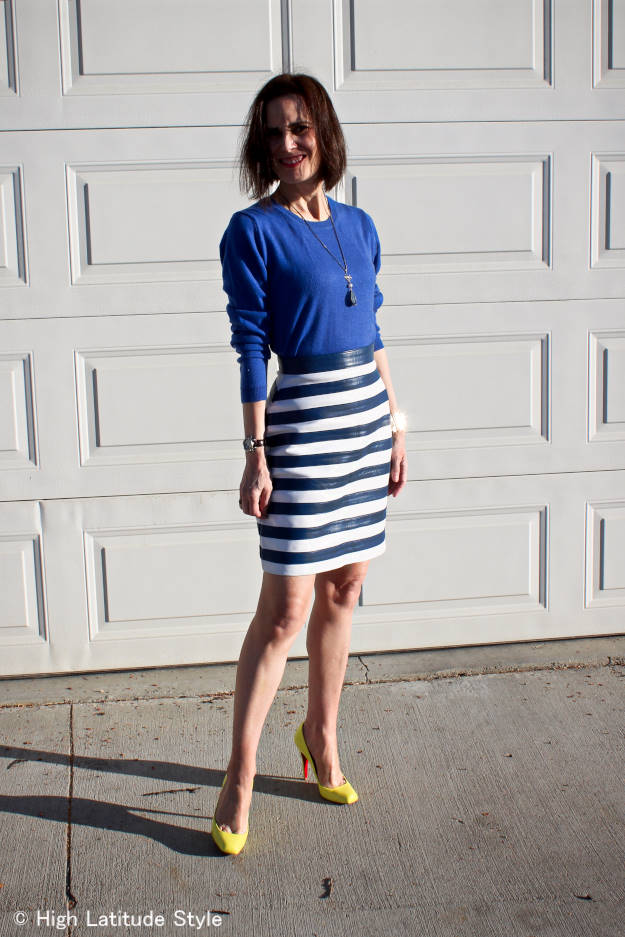 #over40fashion fashion blogger of High Latitude Style doning an office look with hide