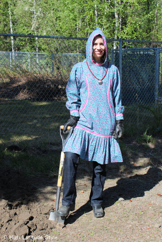 #fashionover40 woman in Alaska kuspak