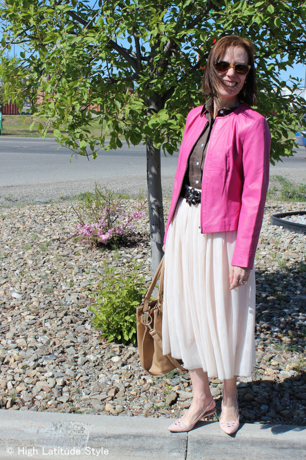 #maturefashion woman in office outfit substituting a blazer for Casual Friday