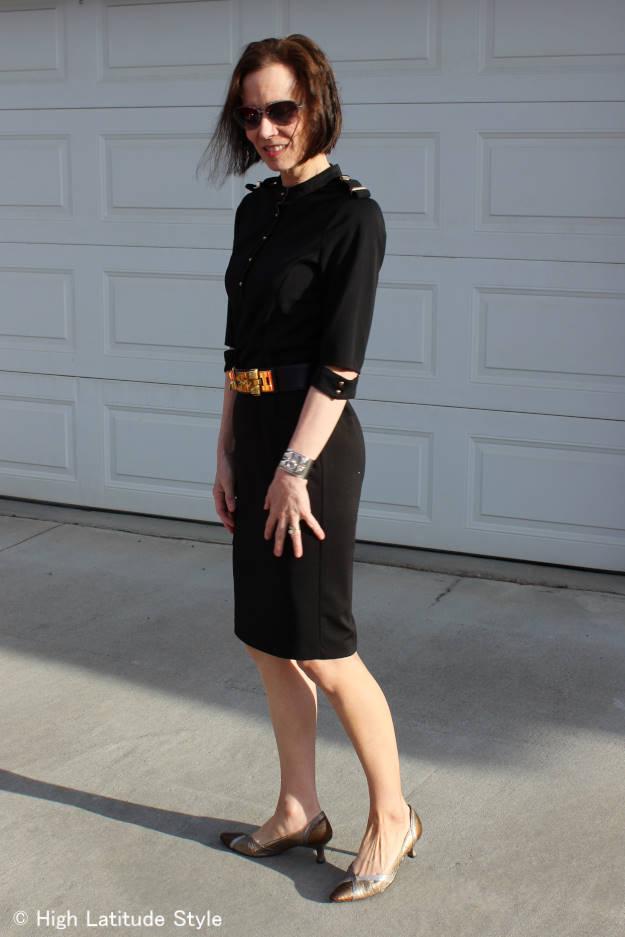 style blogger in black wedding guest attire