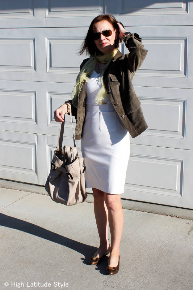 #over50fashion older lady in warm season attire styled for the cold to warm transition season