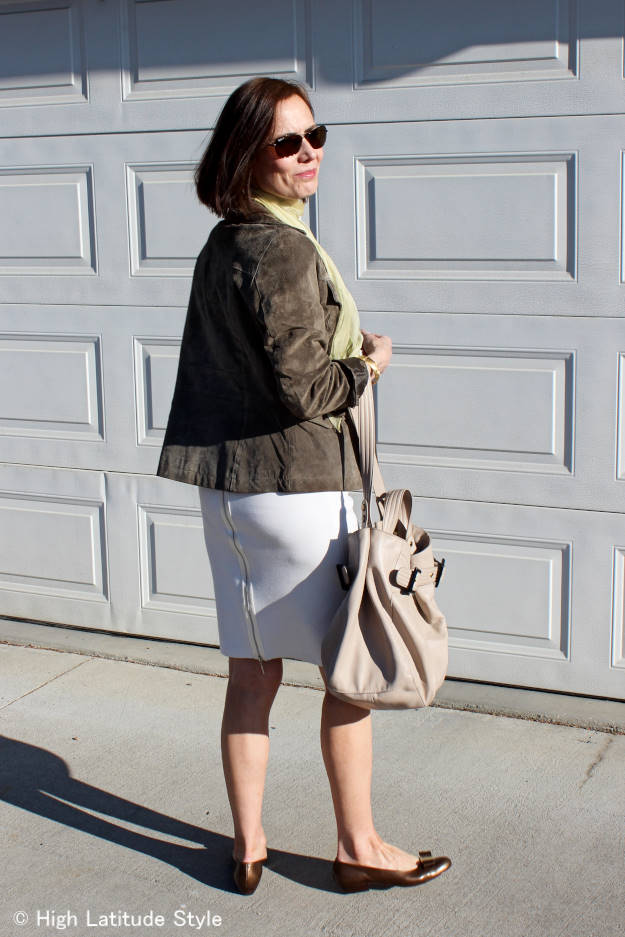 #fashionover50 summer work outfit in neutral colors