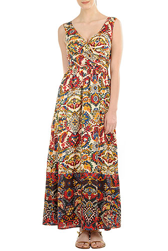 what to wear to an outdoor concert: example Ethnic floral bird print cotton maxi dress