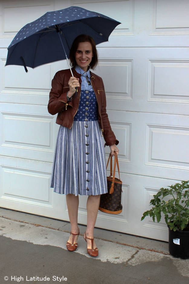 over 50 years old fashion blogger with umbrella in the rain