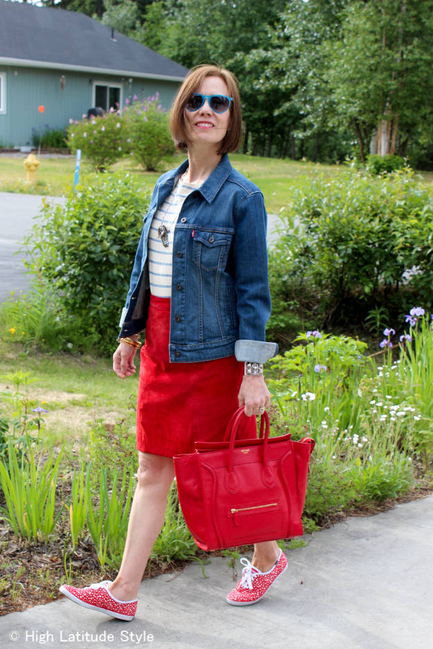 #maturefashion mature woman looking posh in a patriotic red, white and blue outfit