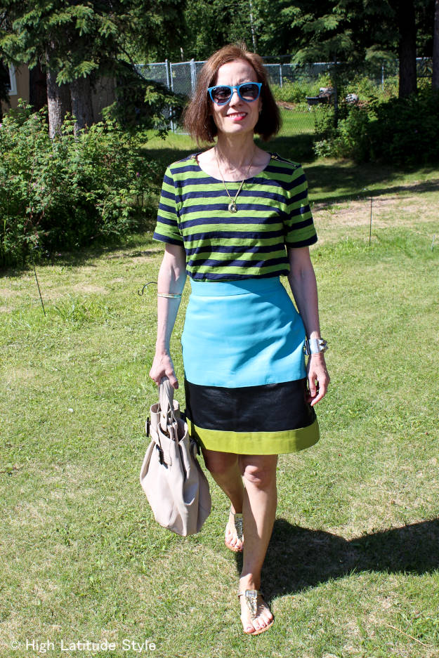 Fashion blogger in a double striped weekend outfit