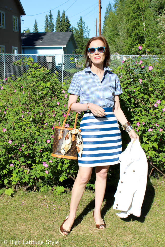 #over50fashion work outfit in white and blue summer trend