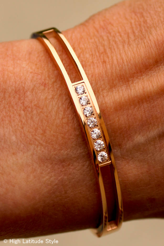 #RobertMatthew Rose Gold Madison Bangle with seven AAA cubic zirconium stones in contemporary classic design