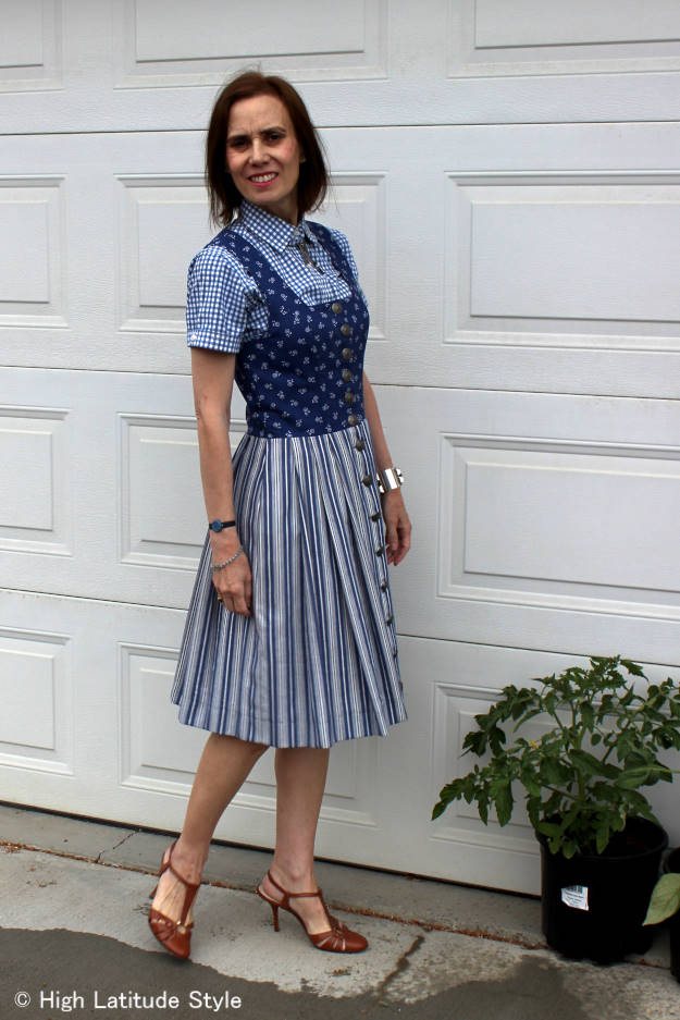 #fashionover40 #fashionover50 mixing three pattern in one outfit