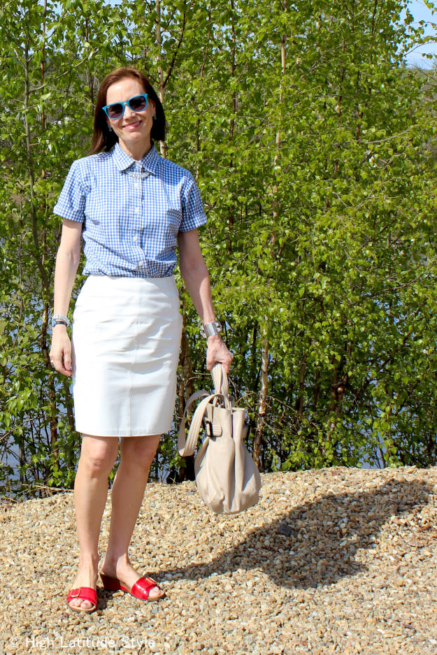 #Vionic #fashionover50 woman in casual summer outfit on the river banks of the Chena in Interior Alaska