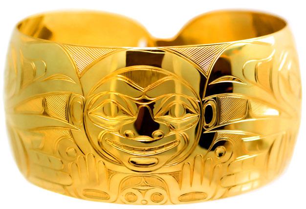 #Alaska-Jewelry Native made men's gold bracelet