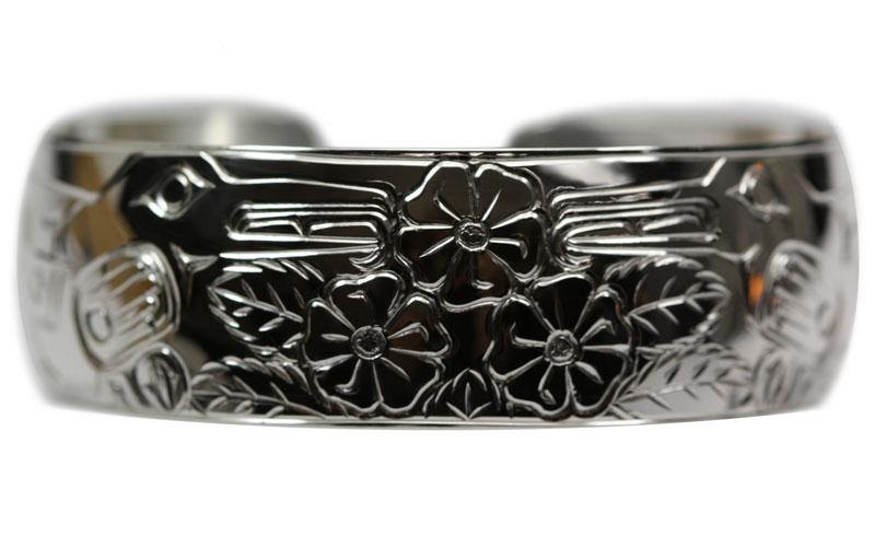 #Alaska-Jewelry men's Sterling silver men's bracelet with humming bird design