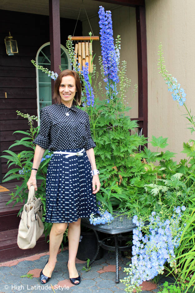 #over40fashion #over50fashion polka dot shirt and skirt work outfit | High Latitude Style | http://www.highlatitudestyle.com