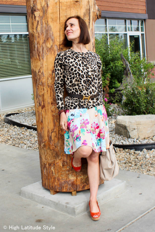 woman mixing leopard and floral prints over 40