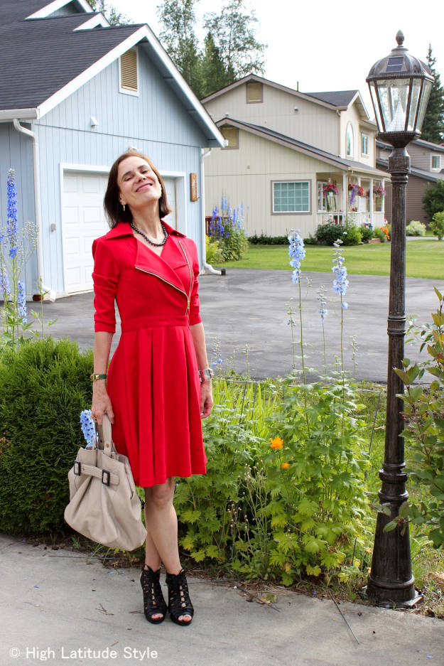 #styleover40 mature woman with cotton jersey tailored knit dress