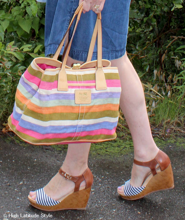 #accessoriesover40 Coach bag Dr. Scholl wedges
