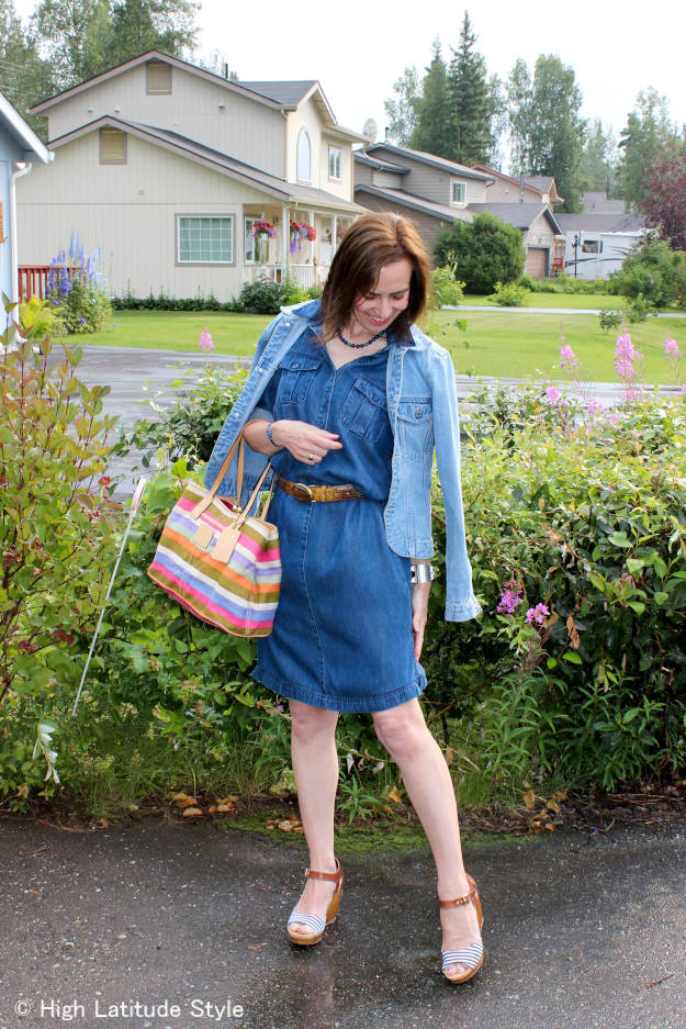 #midlifefashion woman in denim-on-denim casual office look