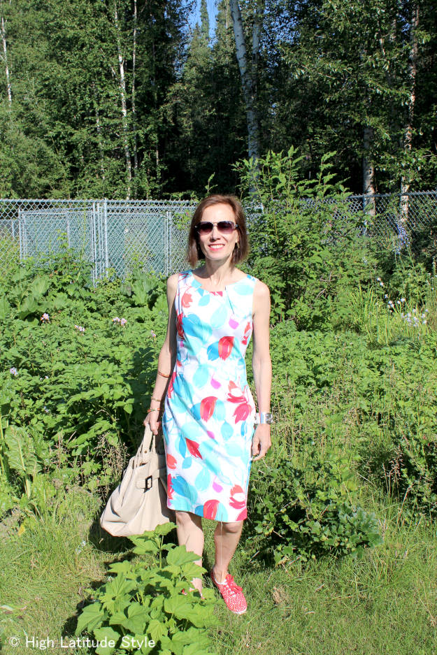 #fashionover40 #fashionover50 chic summer work outfit with Keds and jewelry for Casual Friday