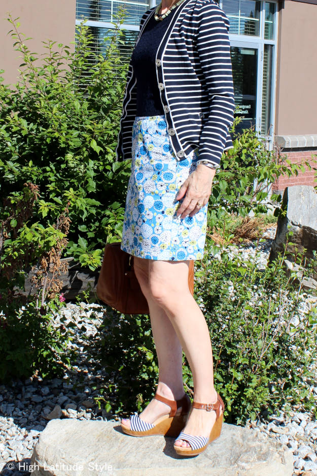 C#fashionover40 #fashionover50 summer work outfit mixing stripes and flora
