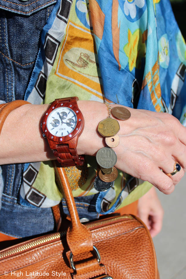 details of wooden watch