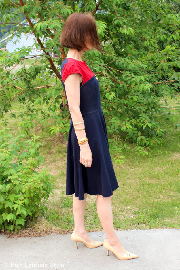 #over50fashion #over40fashion color block fit-and-flare dress with arm candies for work | High Latitude Style | http://www.highlatitudestyle.com