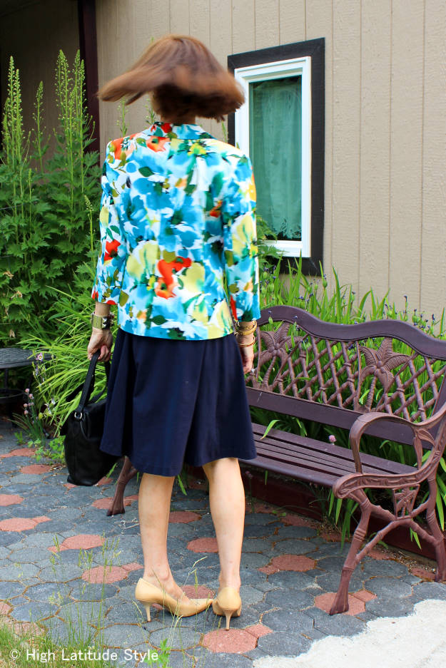 #over50fashion #summerstyle  back view of floral blazer with dress work outfit