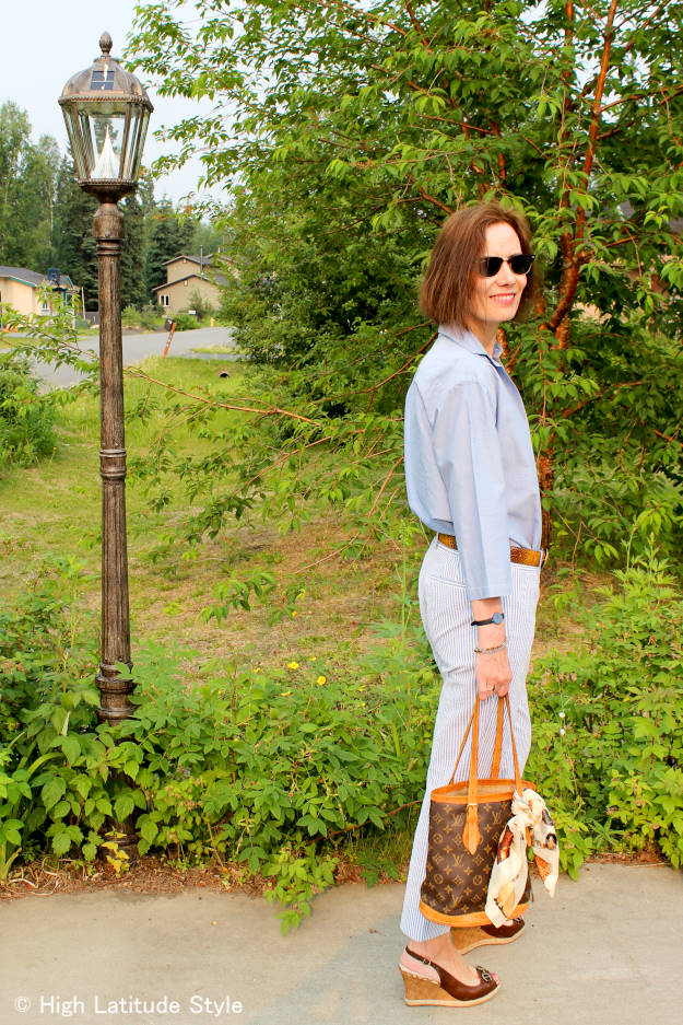 female blogger in seersucker with men's shirt for a posh casual menswear inspired summer work outfit