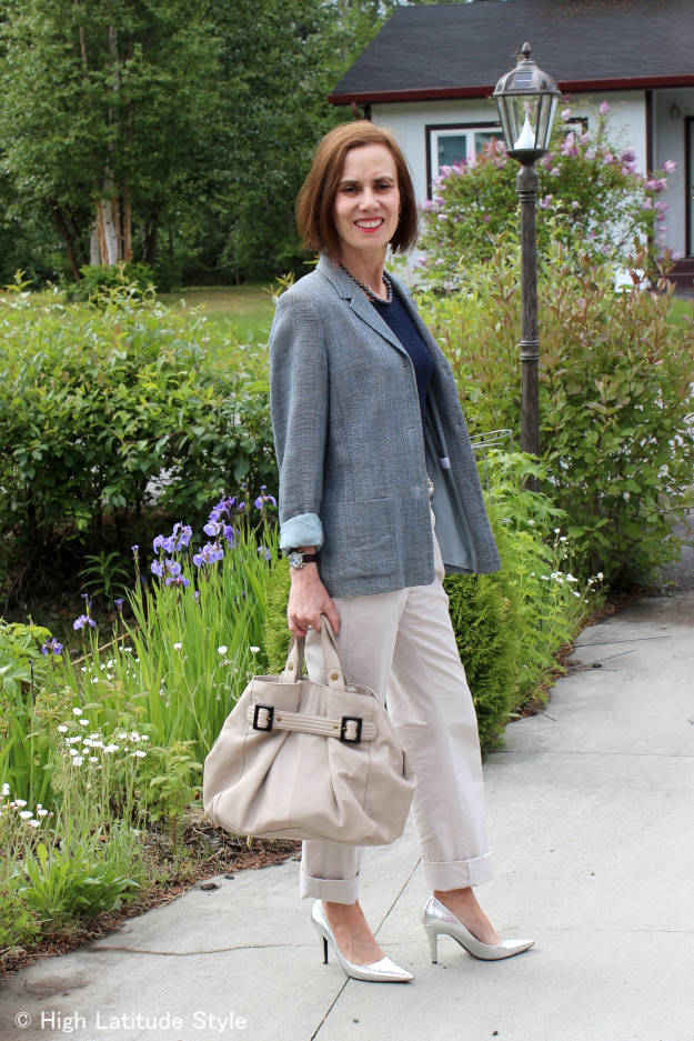 #over40fashion #over50fashion casual office outfit with blazer and chinos