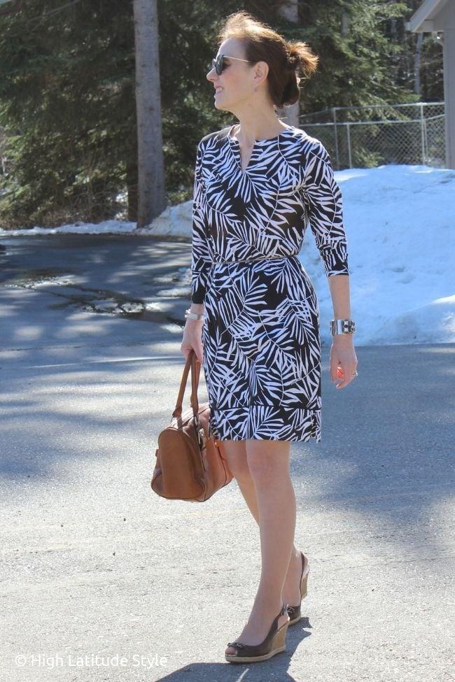 influencer in tropical leaf print dress