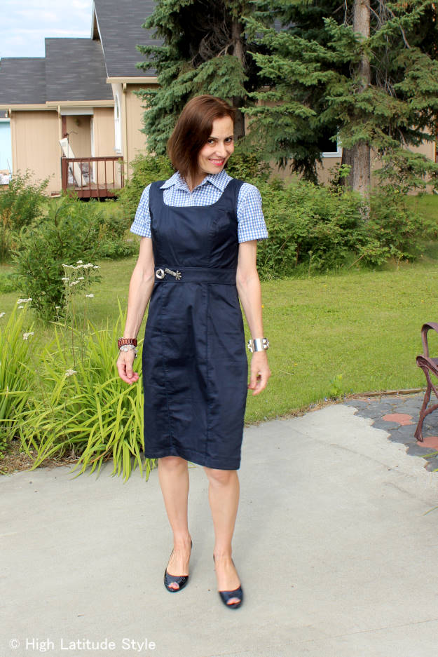 fashion over 40 jumper styled as work outfit with brooches