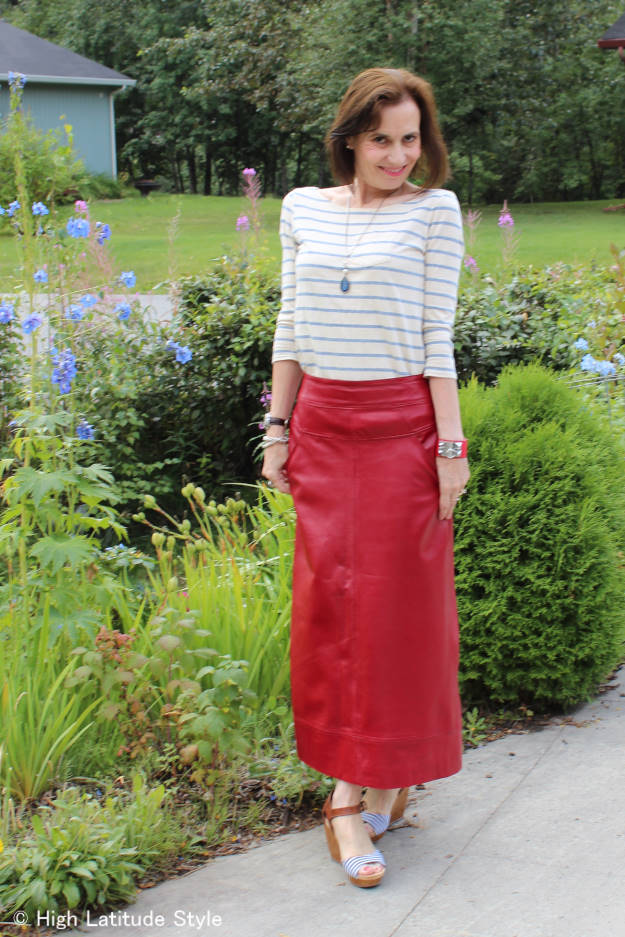 mature fashionista in maxi leather skirt