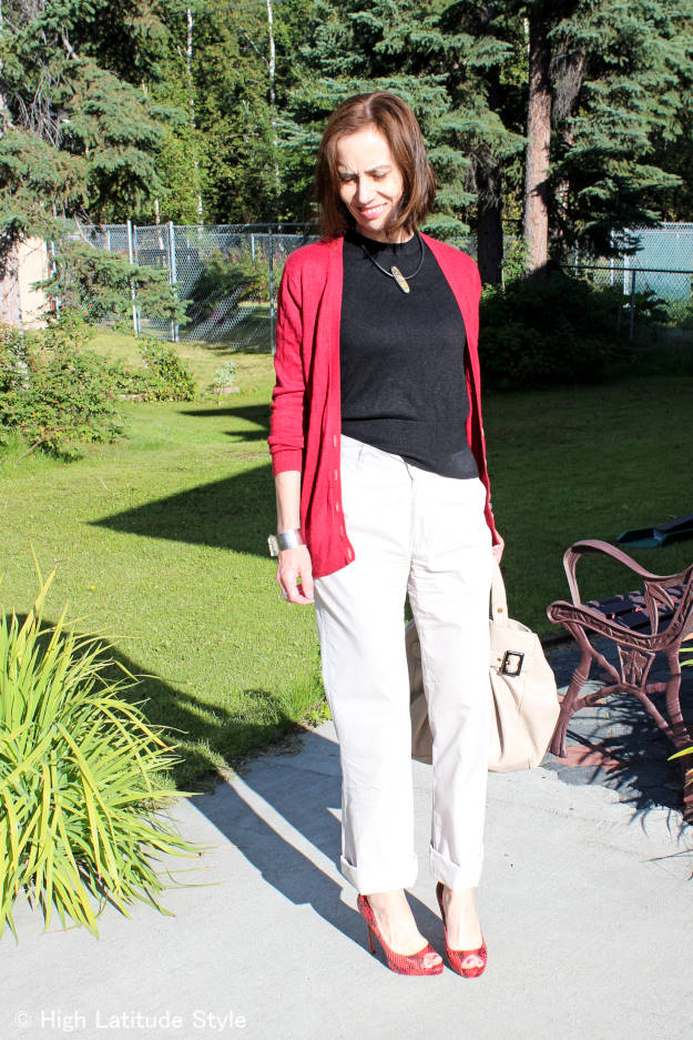 #fashionover40 #fashionover50 Alaskan midlife style blogger in a posh casual OOTD with chinos, sweater, cardigan and high heels