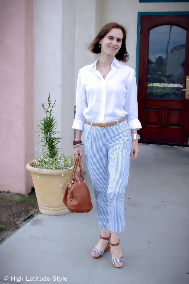 midlife style blogger in summer office look with pants