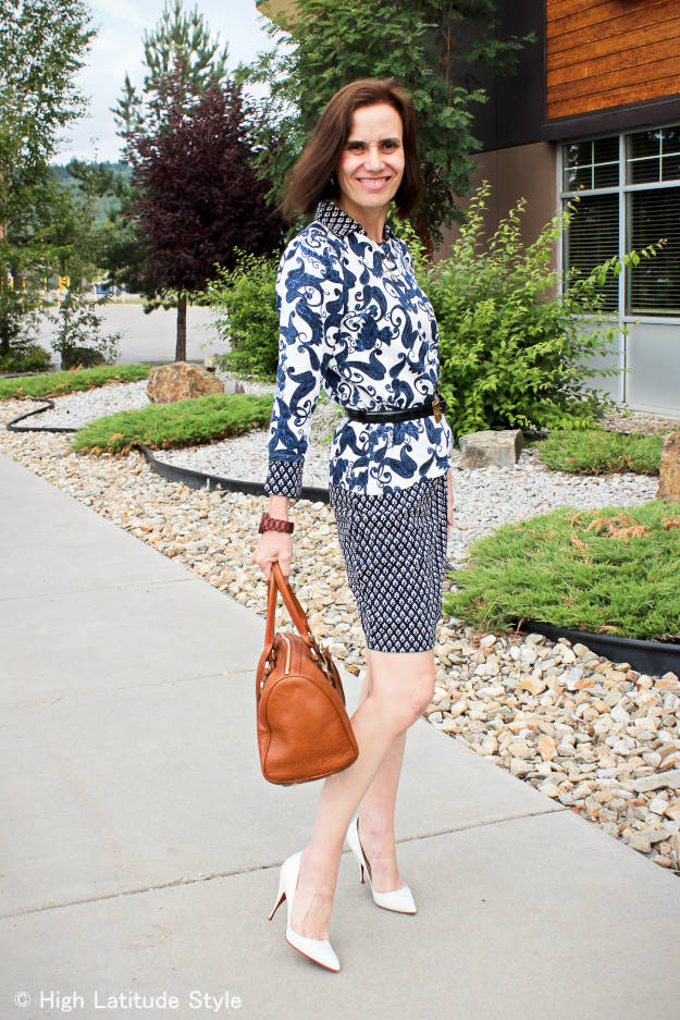 #fashionover40 #fashionover50 work outfit with paisley and small paisley print on white in blue and vice versa