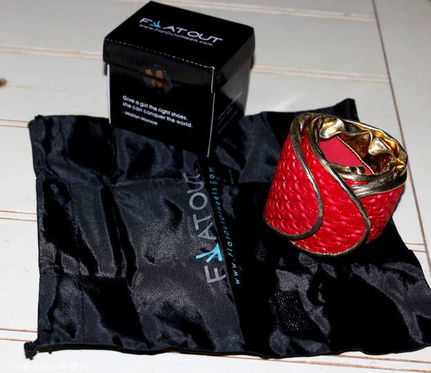 Flatouts in gold with the box in which they were packed including the shoes bag