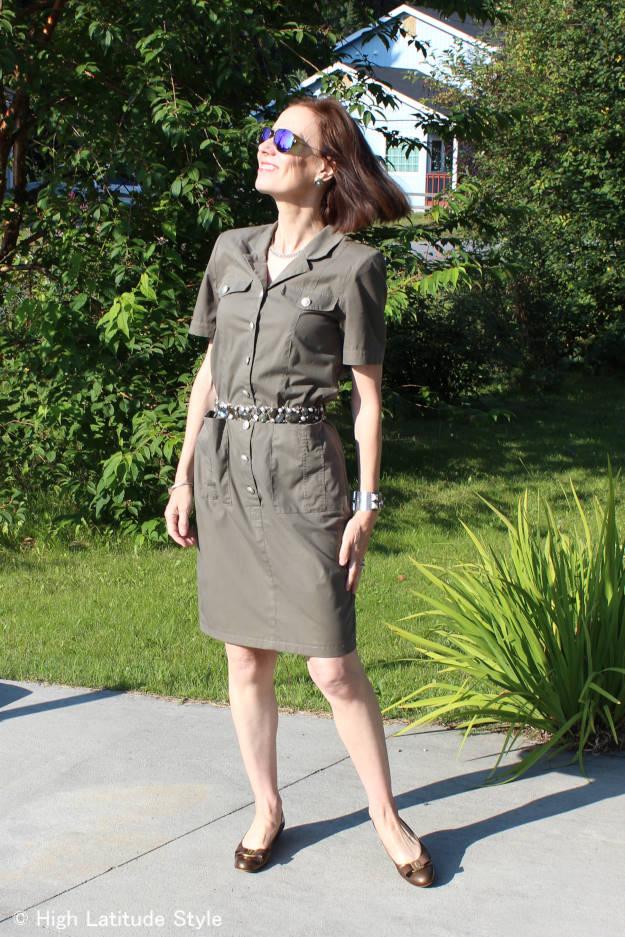 mature woman in posh shirt dress