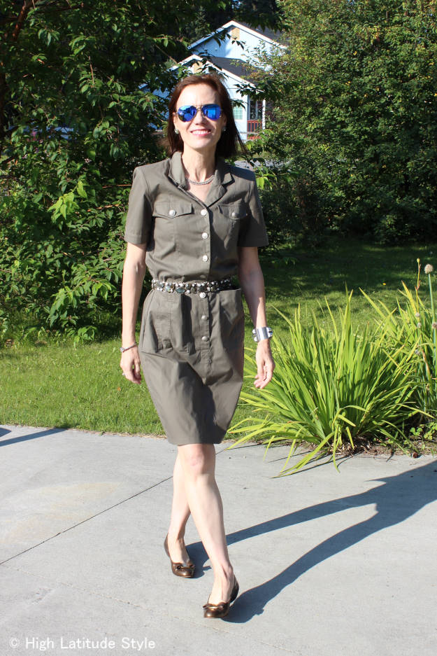 midlife woman in military look