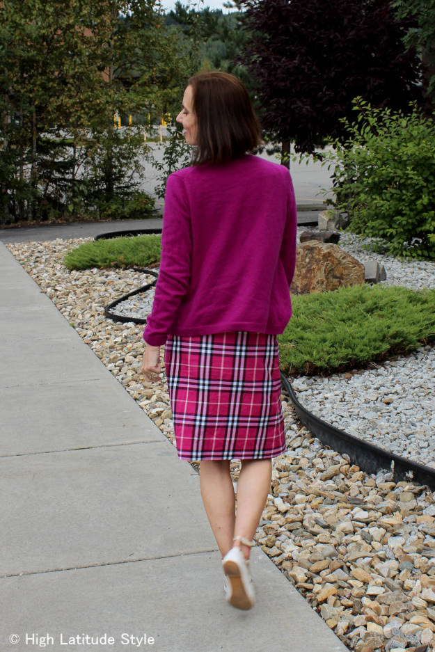look with Burberry pattern A-line skirt with matching cardigan