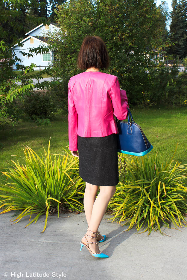 #fashionover40 #fashionover50 fall work outfit with tweed skirt and leather jacket | High Latitude Style | http://www.highlatitudestyle.com