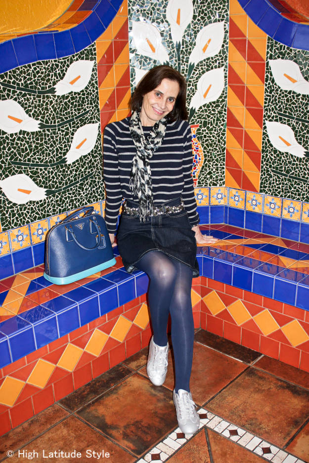 mature style blogger wearing a mixed prints/patterns outfit