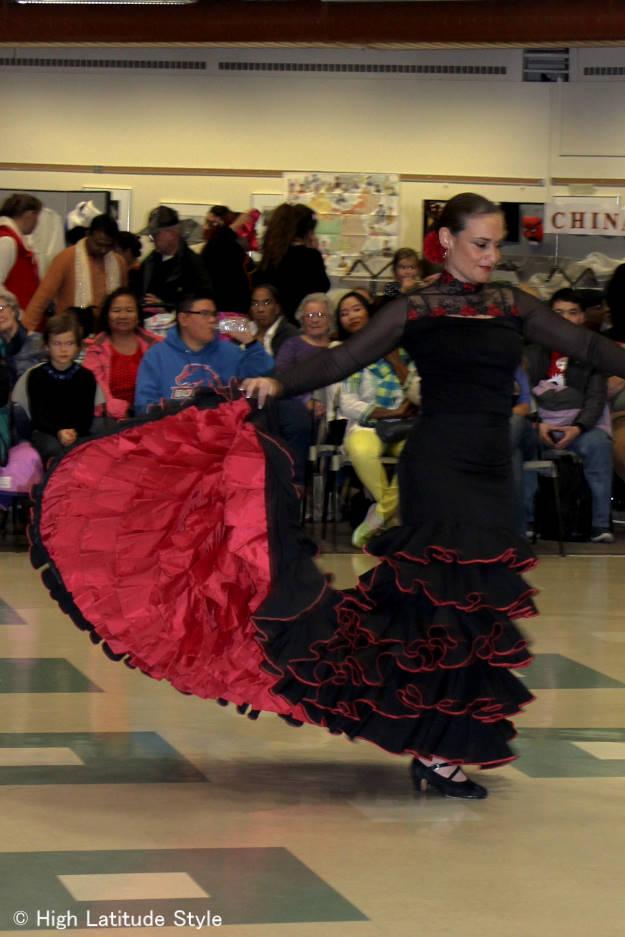 #styleover50 Flamenco dancer in her costume at Fairbanks International Friendship Day