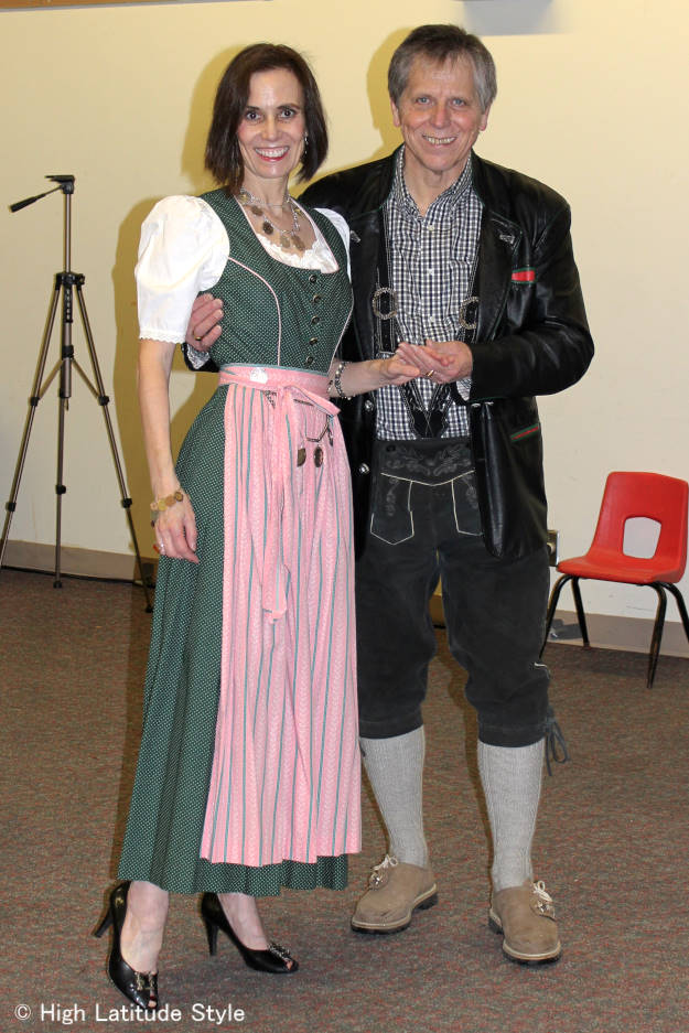 #over50fashion couple in Alpine tracht at Fairbanks International Friendship Day